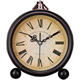 Vintage Silent Desk Alarm Clock Non Ticking Quartz Movement Battery Operated , HD Glass Lens, Easy to Read (2)