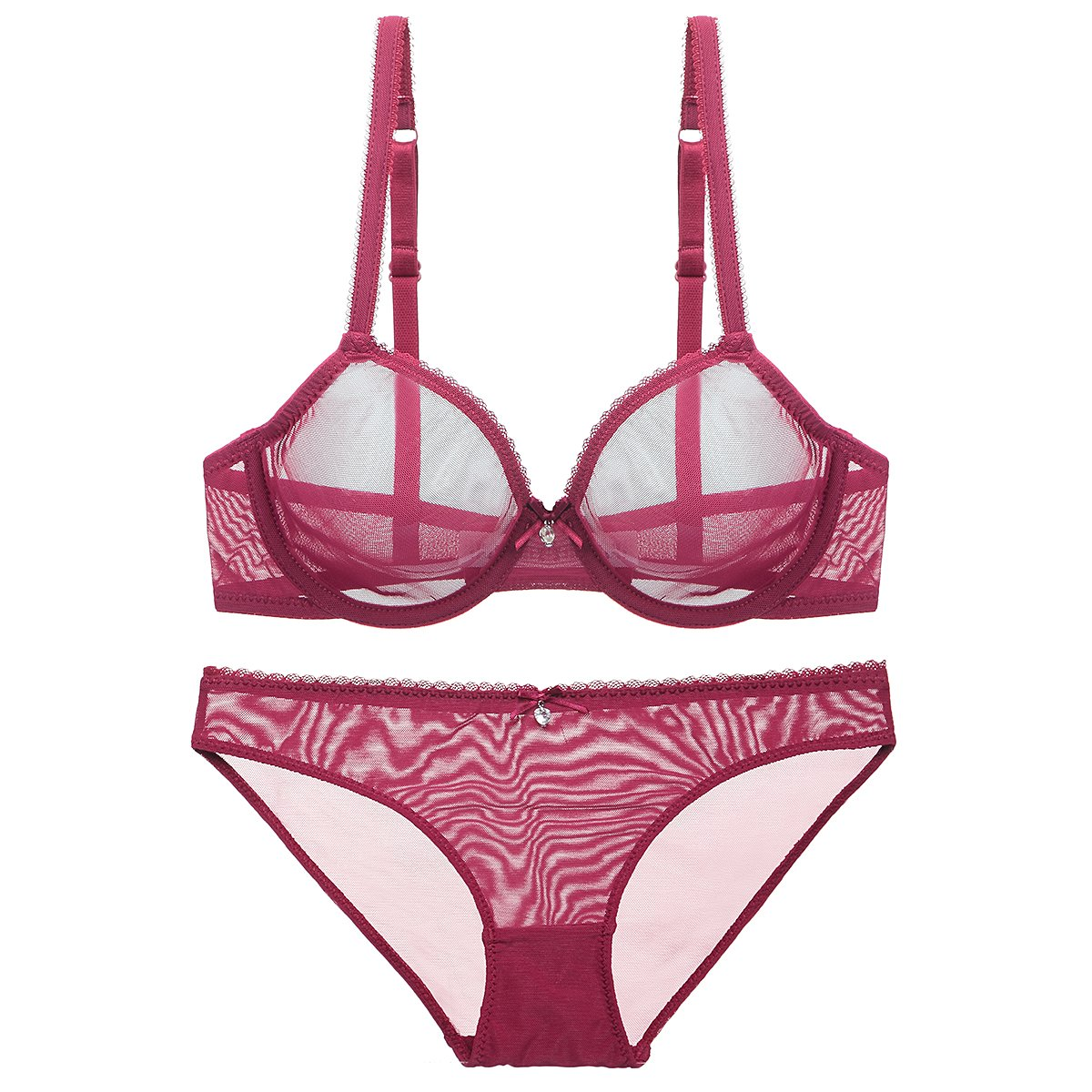 Bluewhalebaby Sexy Lingerie See-Through Transparent Breathable Lace Fine Mesh Fabric Push up Everyday Bra and Knicker Set for Women Red US Size 40D = Tag 42D