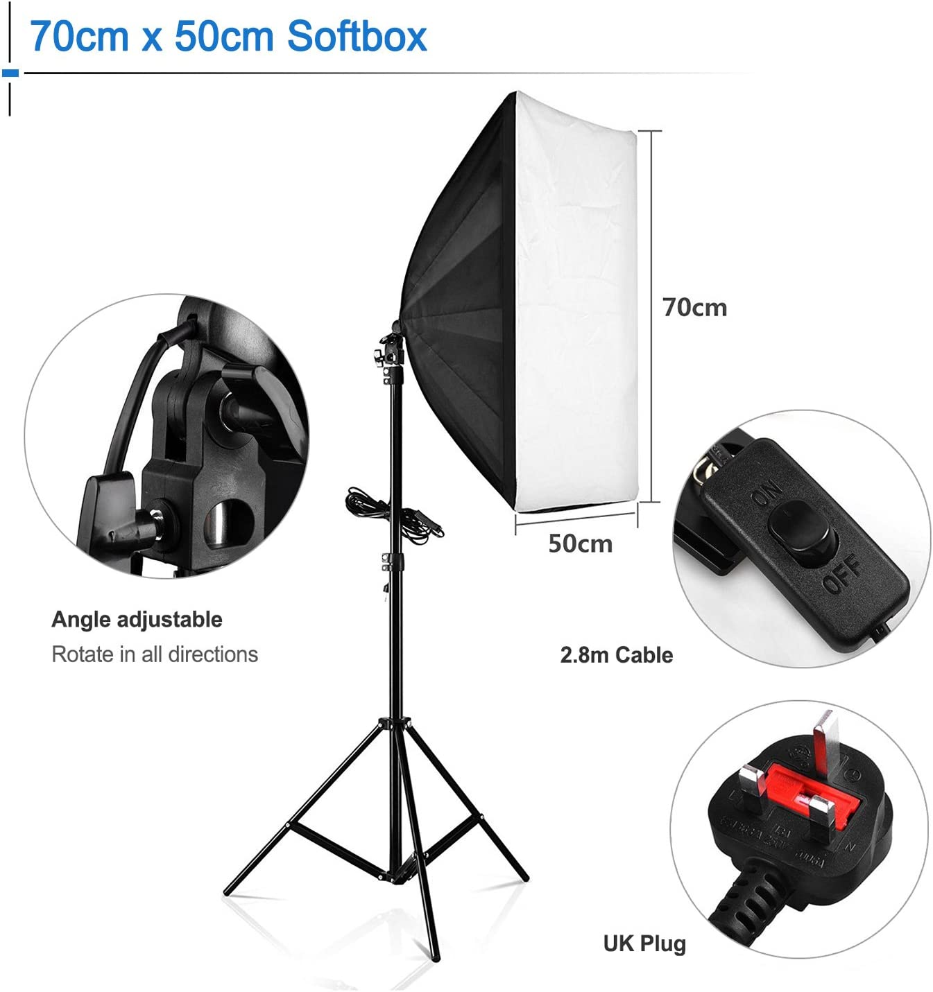 Four Socket Lamp Holder+ 50 X 70CM Flash Lighting Softbox +2m Light Stand Durable GuiPing Photo Studio Softbox Kit