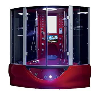 The Superior Steam Shower Sauna With Jetted Jacuzzi Whirlpool Massage (Red)