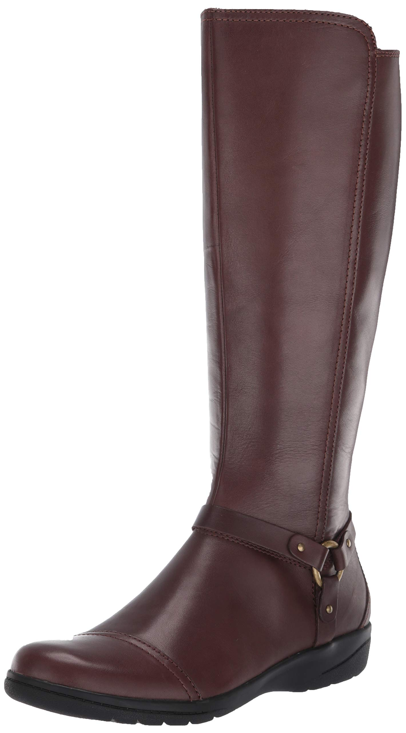 CLARKS Women's Cheyn Lindie Knee High Boot, Dark Brown Leather/Synthetic C, 75 W US by CLARKS