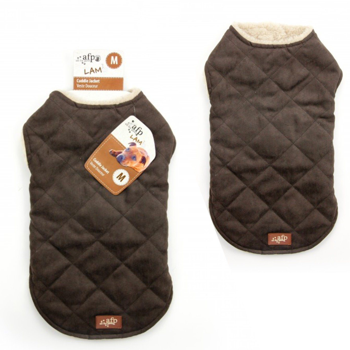 Brown Large Brown Large All for Paws Lambswool Diamond Stitch Jacket, Brown, Large