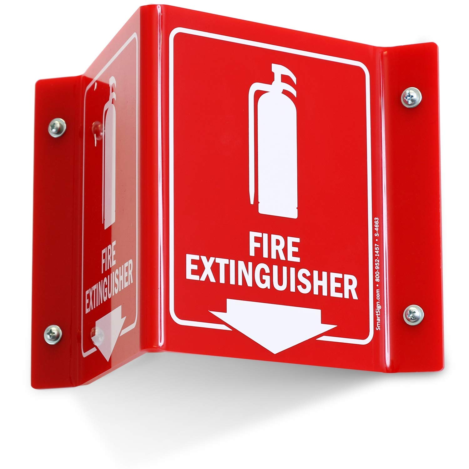 SmartSign''Fire Extinguisher'' Projecting Sign, Fire Extinguisher with Down Arrow, Decal-Based, Print on Both Sides | 5'' x 6'' Polished Acrylic