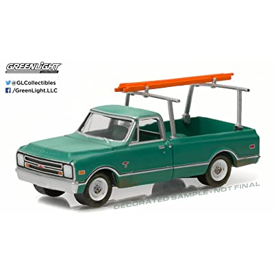 Greenlight New 1:64 Blue Collar Collection 1 Collection - Green 1968 Chevrolet C-10 with Ladder Rack Diecast Model Car: Toys & Games