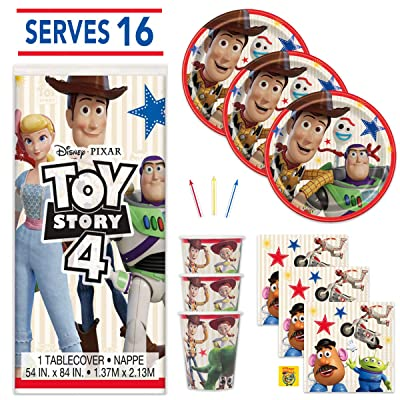 Toy Story 4 Birthday Party Supplies Set - Serves 16 Guests - Tablecover, Plates, Napkins, Cups and Candles: Toys & Games