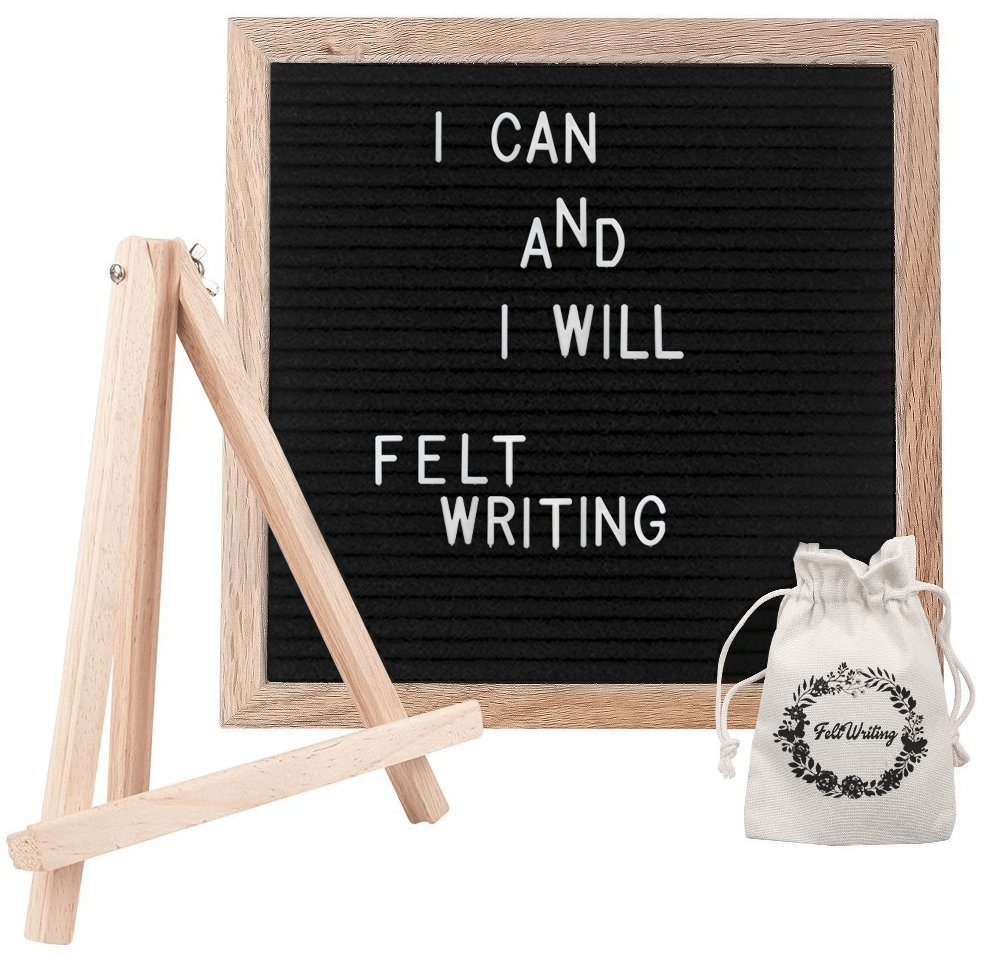 Black Felt Letter Board. Our 10x10 Inches Changeable Letter Board Includes 346 White Plastic Letters and Numbers, Symbols, Oak Wood Frame, Tripod Stand, Mounted Hook and Canvas Bag