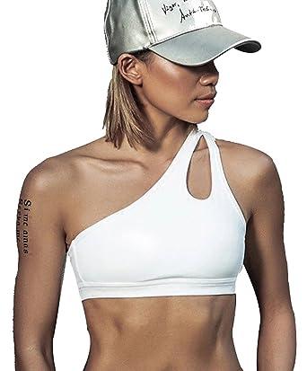 Tops de Mujer Compresion sin Costuras para Hacer Deporte. Sujetador Deportivo para Entrenar de Licra. (Cruzado Blanco) - M: Amazon.es: Ropa y accesorios