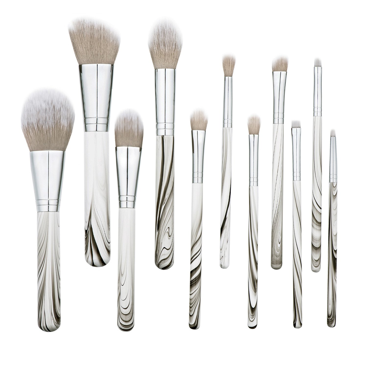 Beauty Kate Marble Wooden Makeup Brush Set 11 PCS New Professional Synthetic Big Powder Brush Face Eyeshadow Eyebrow Blush Contour Foundation Lip Kabuki Makeup Brush Beauty Tool