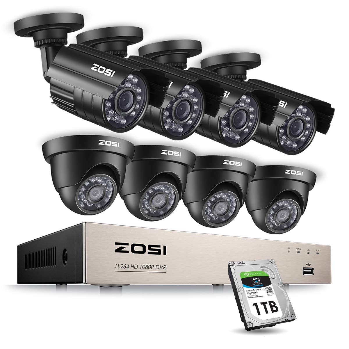 ZOSI 8CH 1080P Security Cameras System Surveillance Dvr with 2.0MP (8) Waterproof Security Cameras & 1TB Hard Drive for Home Office Security Outdoor Indoor & Motion Detection by ZOSI