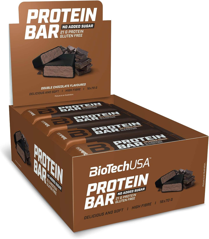 BioTechUSA Protein Bar - barrita de proteínas con alto contenido proteico, sin azúcar añadido, con proteína del suero y colágeno, 16 * 70 g, Doble ...