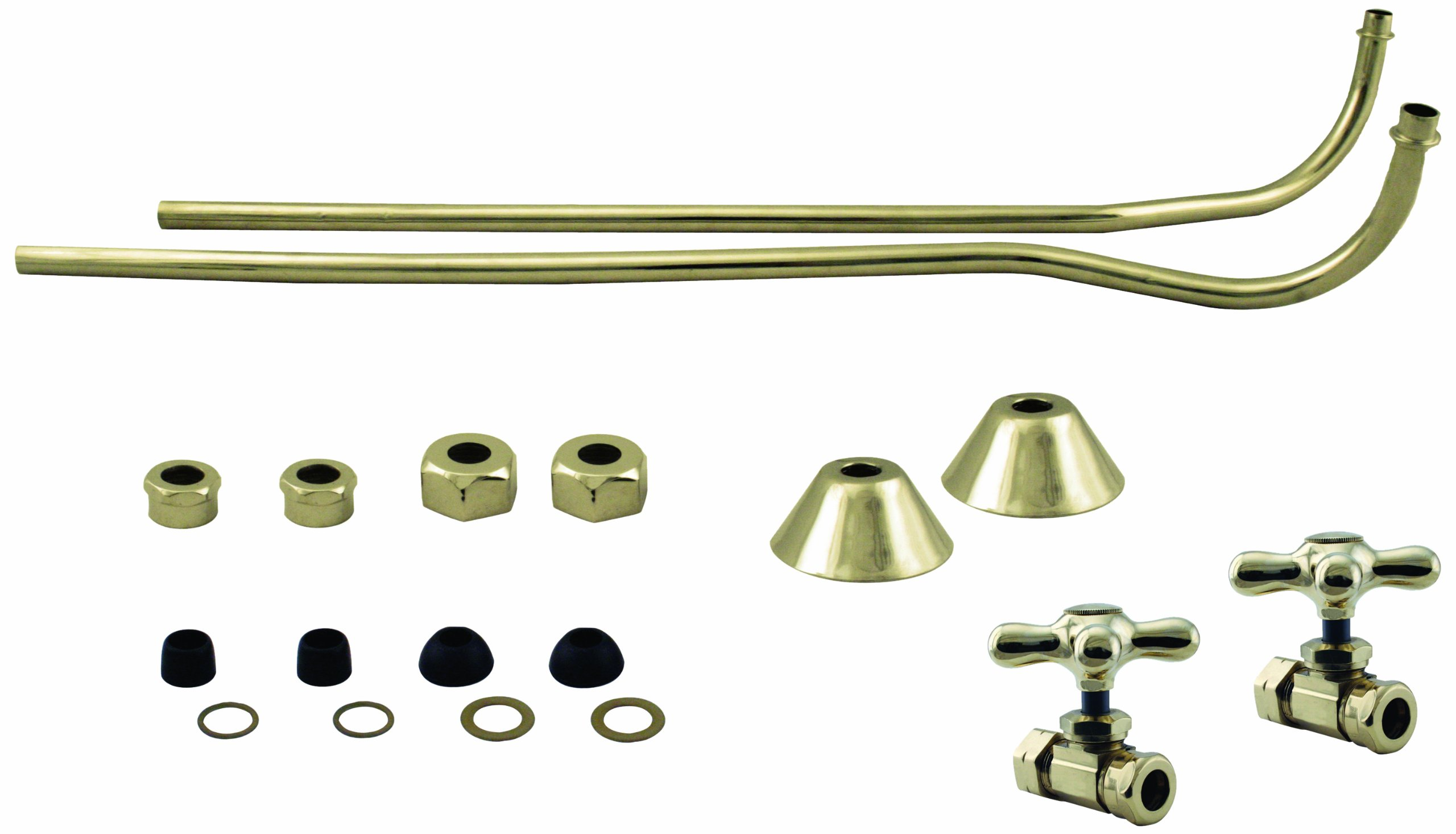Westbrass Double Offset Bath Supply Lines with 1/2'' IPS Valves and Cross Handles, Polished Brass, D136-108X-01 by Westbrass