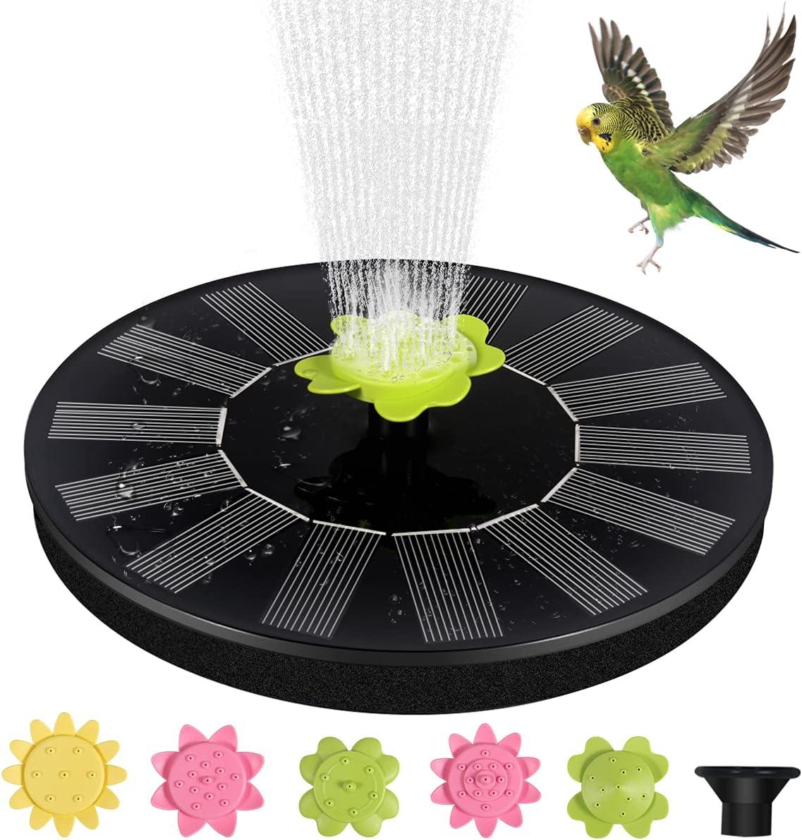 Solar Fountain Pump, 1.4W Solar Powered Fountain with 5 Removable Nozzles, Solar Bird Bath Fountain Suitable for Pond, Garden, Patio, Outdoor