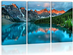 Sunset Morain Lake and Mountain Range Alberta Canada Landscape Wall Art Decor Tree Forest Sky Cloud in Water Canvas Painting Kitchen Prints Pictures for Home Living Dining Room