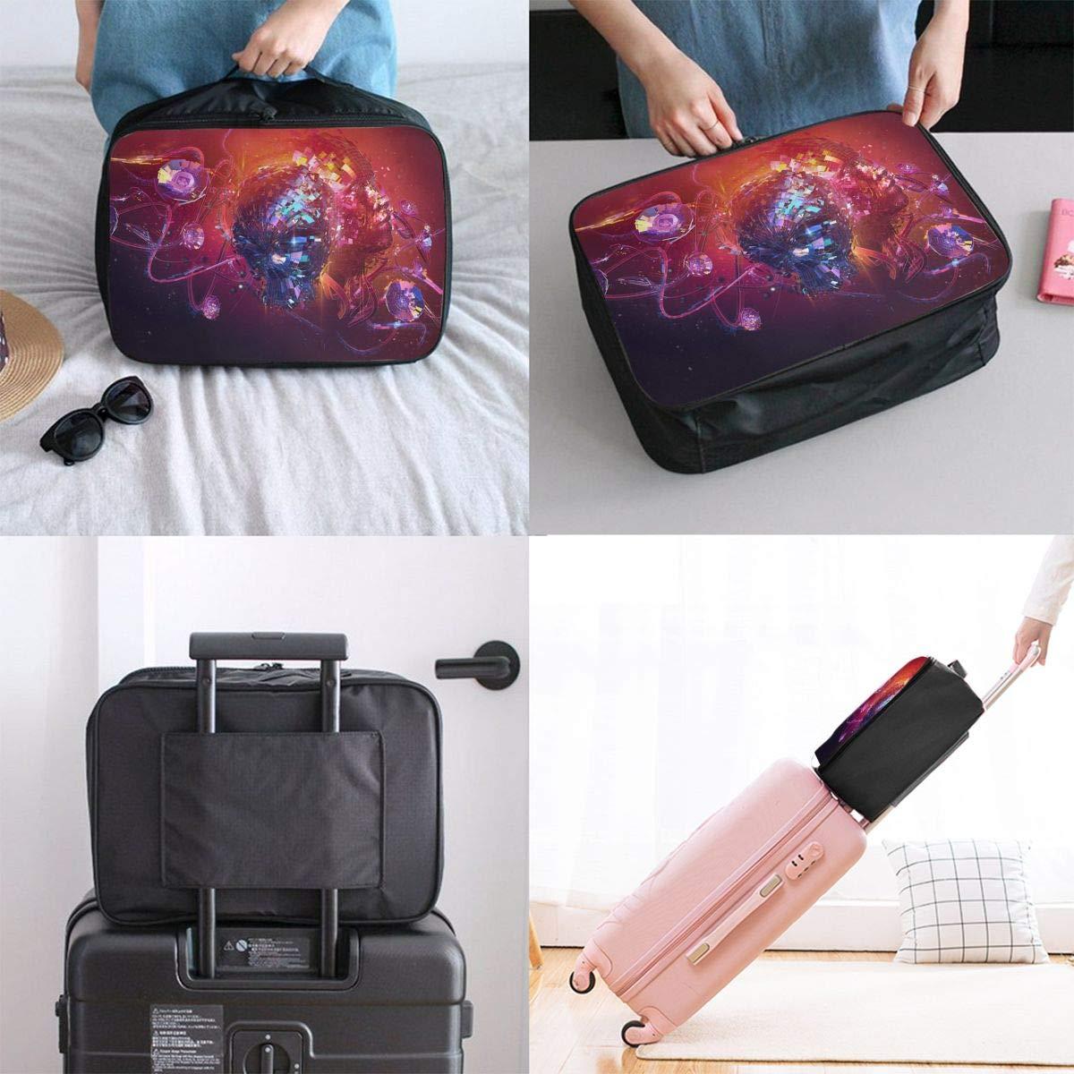 Travel Luggage Duffle Bag Lightweight Portable Handbag Abstract Geometric Skull Large Capacity Waterproof Foldable Storage Tote