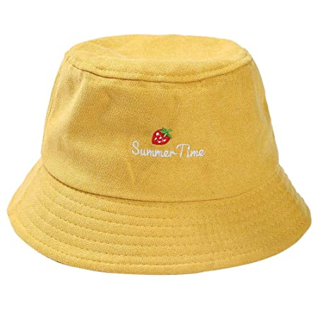 7250001b6e3 BESTOYARD Autumn Winter Hat Cotton Embroidery Strawberry Packable Bowler Cap  Bucket Hats Casual Sunhat for Women Girls Outdoors (Yellow)  Amazon.co.uk   ...