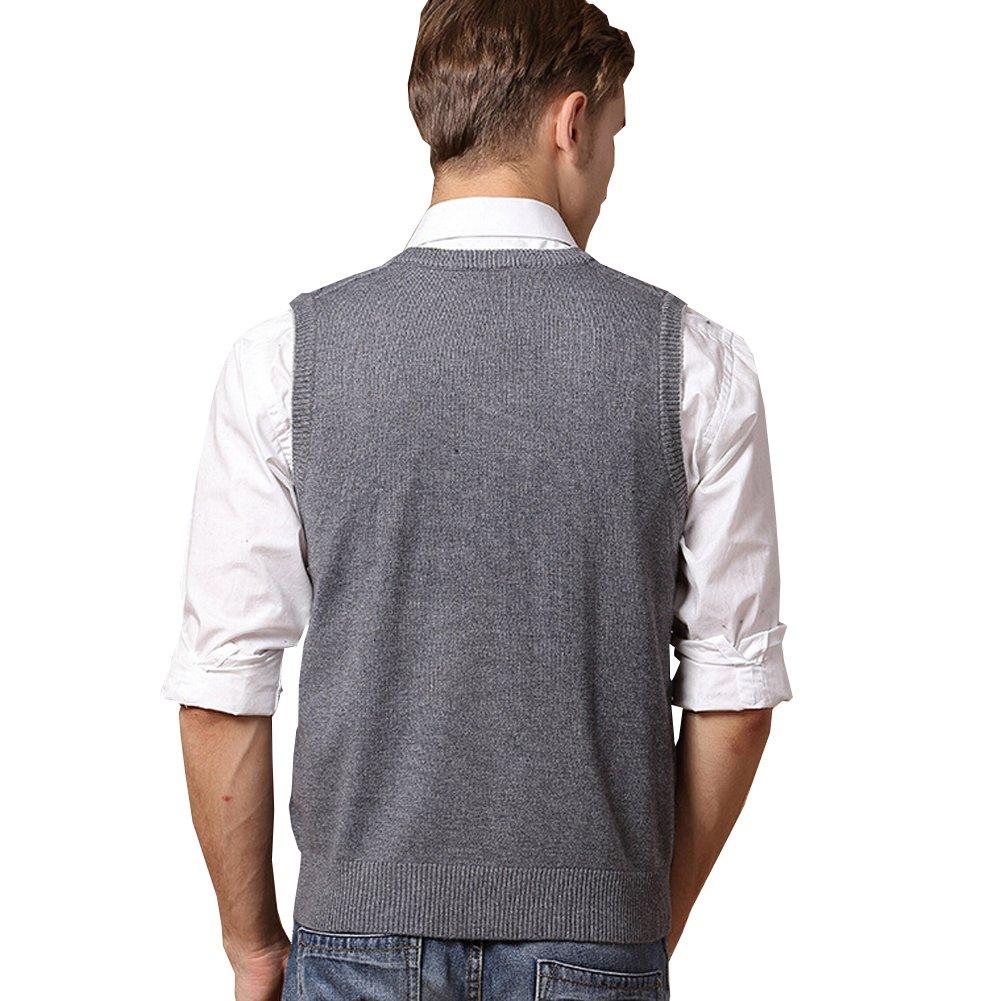 Lisianthuas Mens' Argyle V-Neck Sweater Vest Color Dark Grey Size M by Lisianthus (Image #2)
