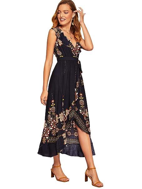 neues Design mehr Fotos ästhetisches Aussehen DIDK Damen Kleid Sommerkleid Knielang Streifen Halbarm mit Gürtel  V-Ausschnitt Strandkleid Partykleid