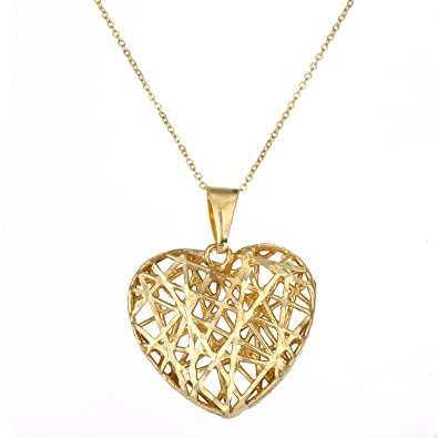 Citerna 9ct Yellow Gold Mesh Heart Pendant Necklace of Length 46cm Q3ye3fen