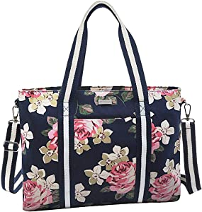 MOSISO Laptop Tote Bag for Women (Up to 17.3 inch), Canvas Rose Multifunctional Work Travel Shopping Duffel Carrying Shoulder Handbag Compatible with MacBook, Notebook and Chromebook, Blue