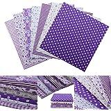 7pcs Tela de Algodón para Patchwork 25cm (Púrpura)
