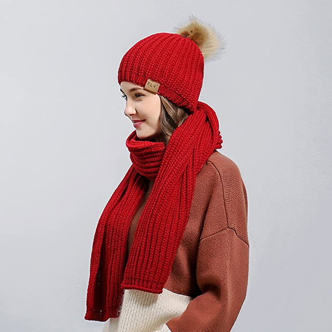 bfe8417f08e Image Unavailable. Image not available for. Color  Women Winter Warm Solid  Color Bobble Pom Hat + Scarf Set Christmas Gift - Red