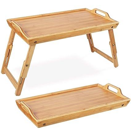 Homfa Bandeja bambú plegable para comida Mesa Comida Soporte bambú para cama 50x31.3x(20-30) cm