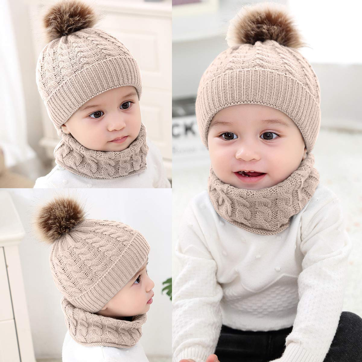 Gomerbesen Trendy Baby Beanie Hat Scarf Set Neck Warmer Knitted Skull Cap