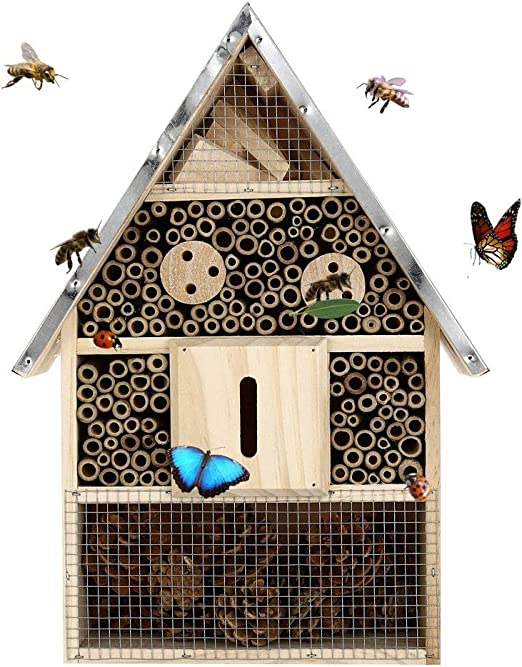 Bee Hive Wooden House Hanging Bamboo Insect Hotel Bees Lady Bugs Insects