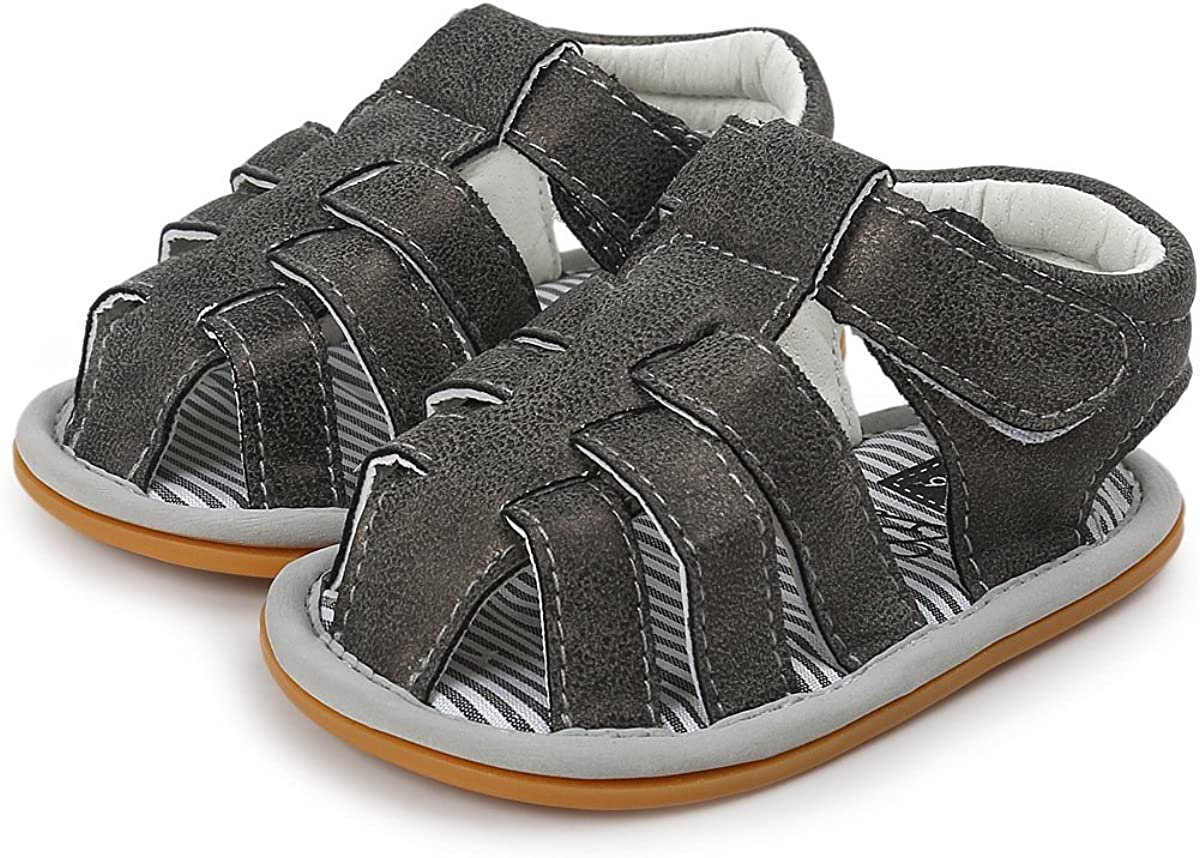 Isbasic Infant Baby Pu Leather Sandals for Toddler Boys Girls Rubber Sole Anti-Slip Slippers Dress Shoes