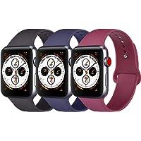 Amzpas Cinturino Compatibile con per Apple Watch Cinturino 38mm 42mm 40mm 44mm, Cinturino Morbido di Ricambio in Silicone per iWatch Series 4/3/2/1