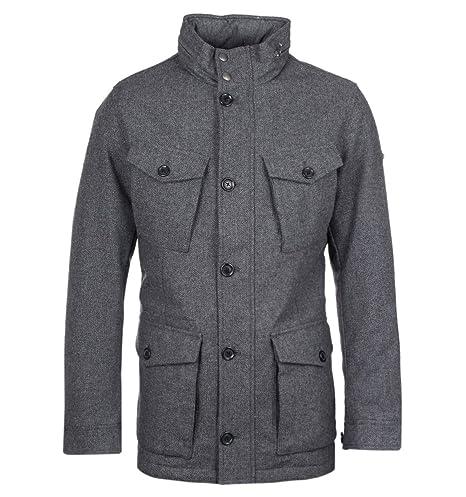 Hackett Hombres chaqueta de campo de espiga de lana Gris XL