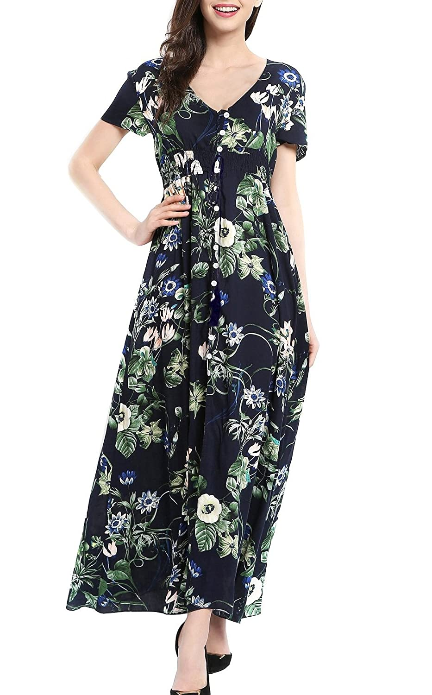 KUONUO Femme Robe Floral Longue Col V /à Fleur Manches Courtes en Coton Boh/ême Robe Maxi de Plage D/ét/é Casual