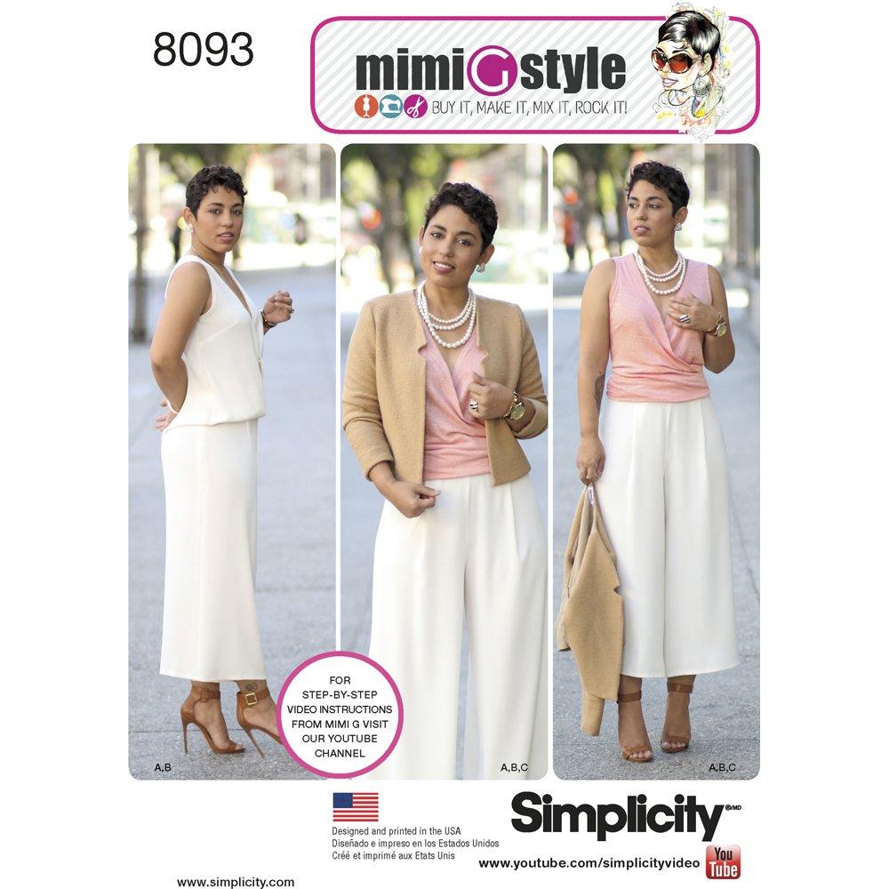 Simplicity-Cartamodello per abbigliamento sportivo da donna, stile G Mimi da cucito, di carta US8093H5