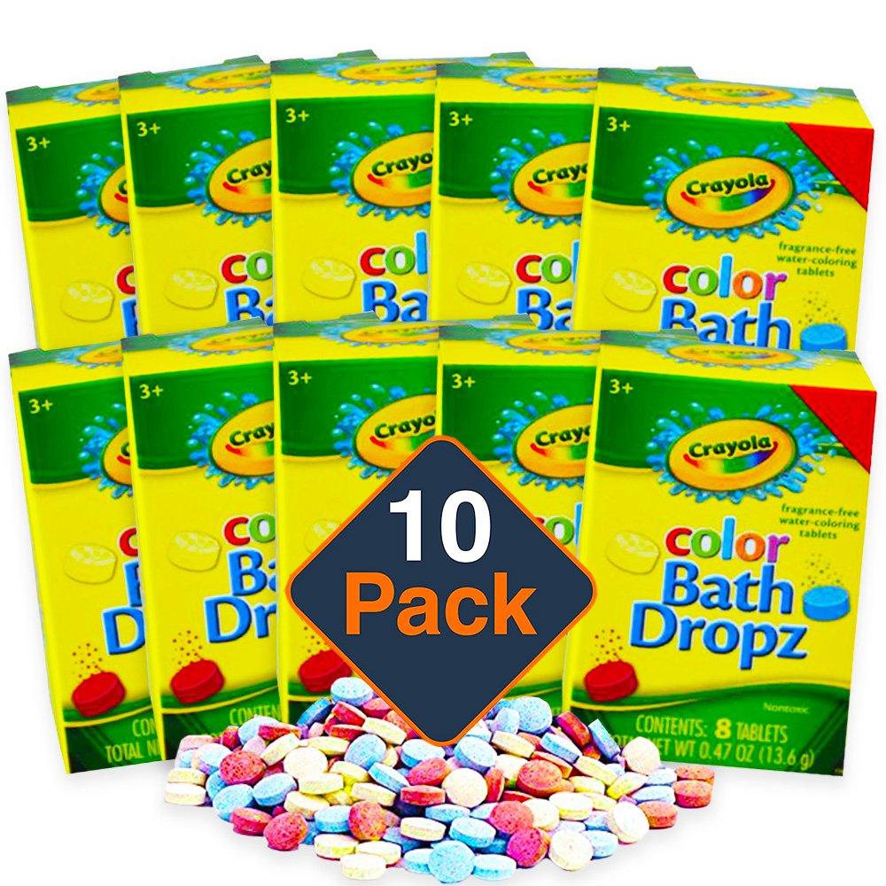 Crayola Color Bath Dropz, 80 Tablets -- 10 Boxes of Crayola Bath Drops, 8 Tablets Per Box (Party Pack)