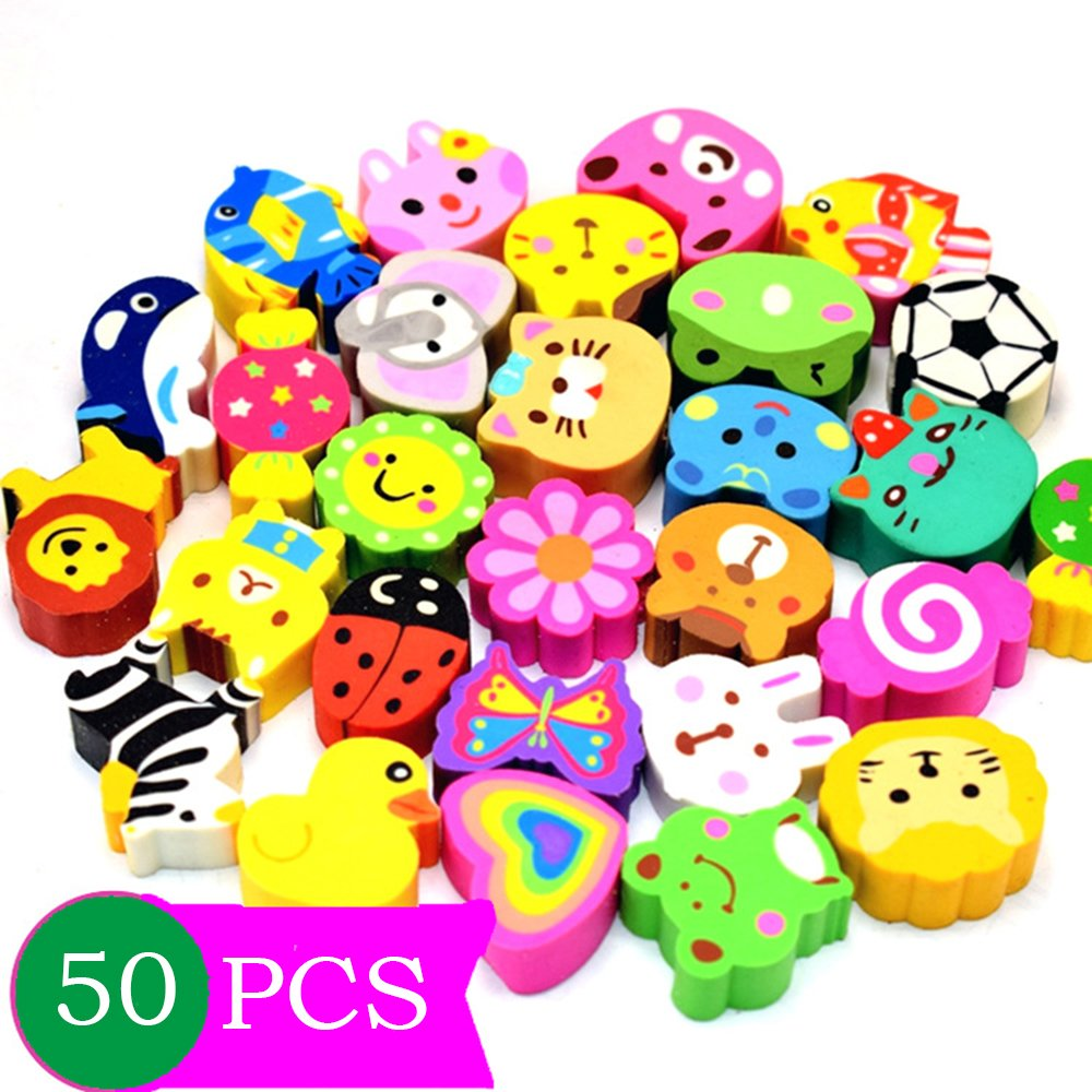 50 Pcs Mseeur Assorted Adorable Collection Pencil Top Erasers,Eraser Caps Style for Our Kids Gift (Pattern Random)