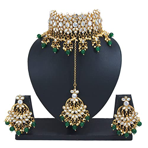 d41af0075 Image Unavailable. Image not available for. Colour  Padmawati Bridal Green  Beads Pearl Kundan Choker Necklace Chandbali Earrings ...