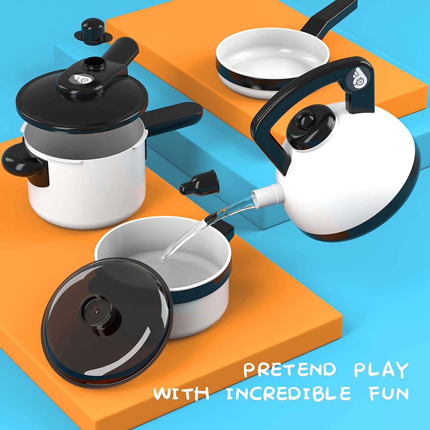 Vegetables NICEME Kitchen Play Toys,36 PCS Cooking Pretend Play Set for Girls Boys 3+ Years Old cookware set accessories for Toddlers Gifts Including Pots and Pans Play Food Toy Utensils