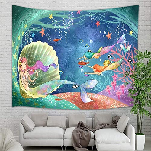 KOTOM Teen Girl Tapestry Wall Hanging, Underwater World Watercolor Mermaid in Seashell Wall Tapestry Art for Home Decorations Dorm Decor Living Room Bedroom Bedspread, 90 X70