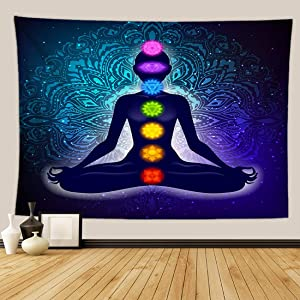 Indian Seven Chakras Meditation Tapestry Yoga Studio Room Decorations Inner Peace Wall Hanging Poster Reiki Spiritual Healing Gift for Friend (Black, 60Wx80L)