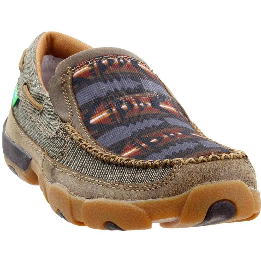 Twisted X Men's Aztec Driving Shoes Moc Toe Grey 10.5 D by Twisted X