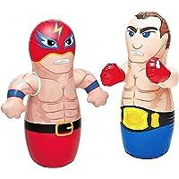 "36"" 2 Pack 3-D Bop Bag Masked Wrestler and Boxer - MMA Fighter Wrestling Kick Boxing Tackle Buddy Punching Bop Bag Fun Kids Indoor Outdoor Toy"