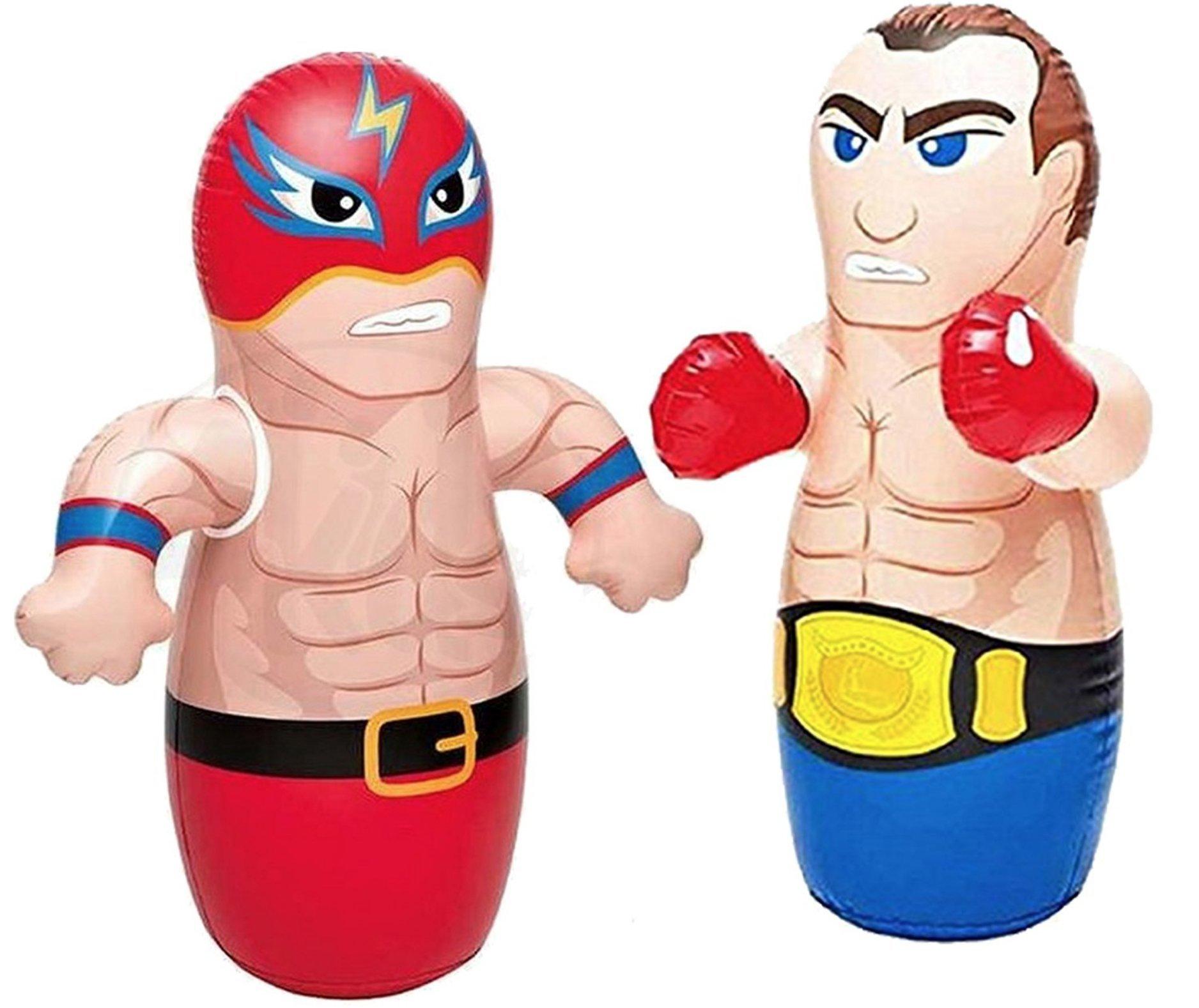 36'' 2 Pack 3-D Bop Bag Masked Wrestler and Boxer - MMA Fighter Wrestling Kick Boxing Tackle Buddy Punching Bop Bag Fun Kids Indoor Outdoor Toy