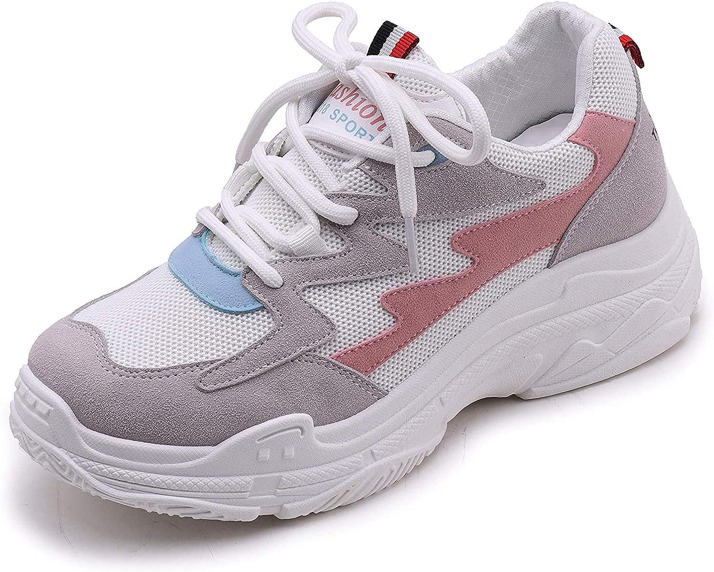 Vansney Moda Mujer Chunky Sneakers Mocasines Confort Señoras Mesh Vamp Zapatos de Trabajo Cordones Planos Entrenadores Deportes Correr Senderismo Grueso Inferior Plataforma Zapatos: Amazon.es: Zapatos y complementos