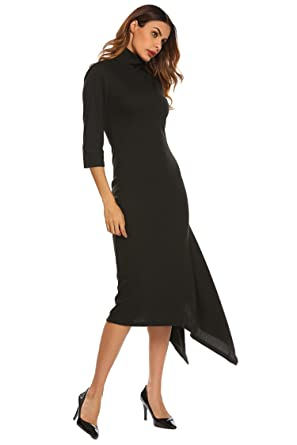 14e9ae4585 Etuoji Women s Floral Print Long Sleeve Colume Dress at Amazon ...