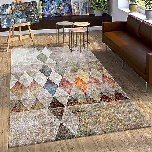 Paco Home Tapis Design à Carreaux Contour Marron Beige Gris Crème,  Dimension:200x290 cm