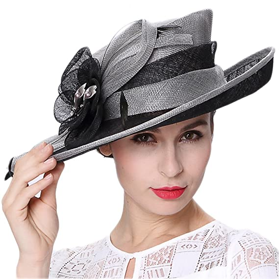 c4bf042683f05 June s Young Lady 3 Layers Sinamay Wedding Hats Grey Black Summer Hat Ascot  Race Derby Hat  Amazon.co.uk  Clothing