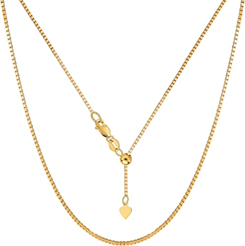 """0.85mm Solid Adjustable Snake Chain Necklace REAL 14K Yellow Gold Up To 22/"""""""