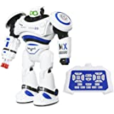 SGILE Large Humanoid Self-programming Robot Toy Robocop, Walks Glides Singing Dance Rechargeable X-man with LED Flashing Lights and Sounds, Creative Intelligent Fun Toy Gift Present for Kids (Blue)