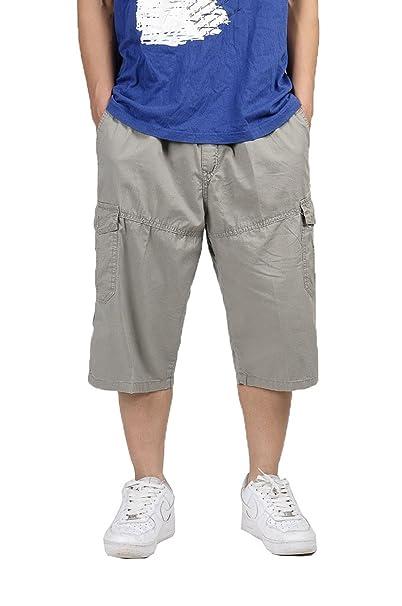Sottile uomini di tempo libero fertilizzante pantaloni cargo ritagliata tuta  uomo grasso sciolto pantaloni Plus Size Khaki 5XL  Amazon.it  Abbigliamento 7aed24f76027
