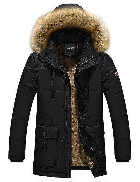 Menschwear Men s Faux Fur Removable Hooded Down Jacket Fleece Lined Short Winter  Coat (XL 64a1a255e
